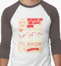 Dr. Jekyl and His Weird Show, Featuring Frankenstein Horror Vintage Men's Baseball ¾ T-Shirt