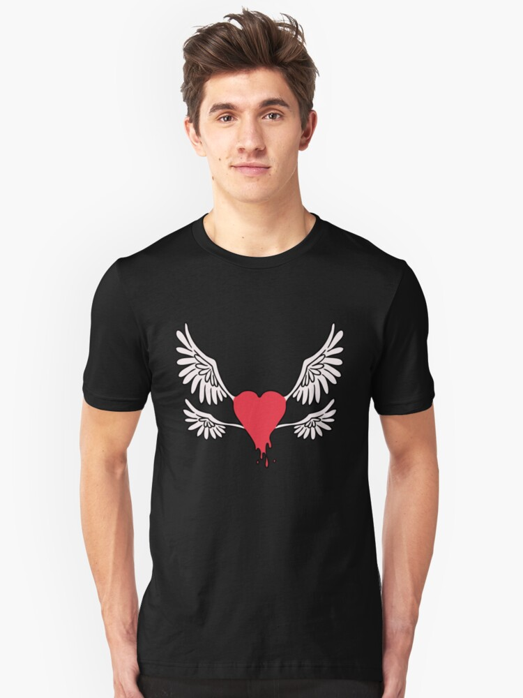Red Winged Heart Unisex T-Shirt Front