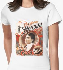 Harry Houdini Master of Cards Vintage Women's Fitted T-Shirt