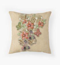 Leather Flowers & Butterflies Throw Pillow