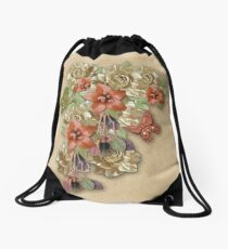 Leather Flowers & Butterflies Drawstring Bag