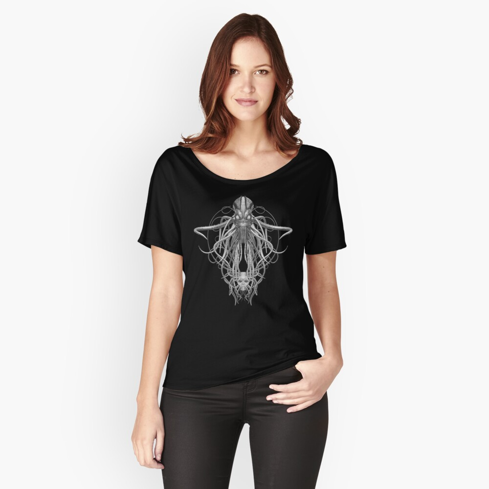 Cthulhu / Kraken in Black and White Relaxed Fit T-Shirt