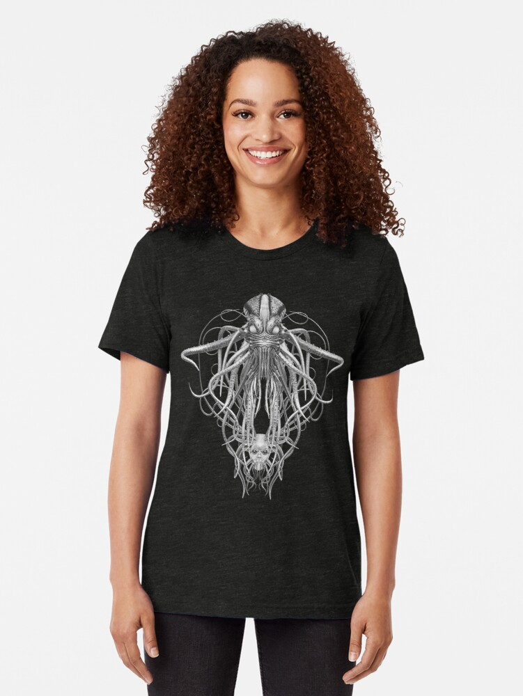 Alternate view of Cthulhu / Kraken in Black and White Tri-blend T-Shirt