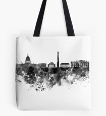 Washington DC skyline in black watercolor on white background  Tote Bag