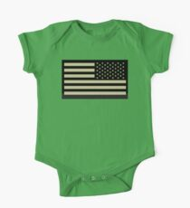 AMERICAN ARMY, Soldier, American Military, Arm Flag, US Military, IR, Infrared, USA, Flag, Reverse side flag, on BLACK One Piece - Short Sleeve