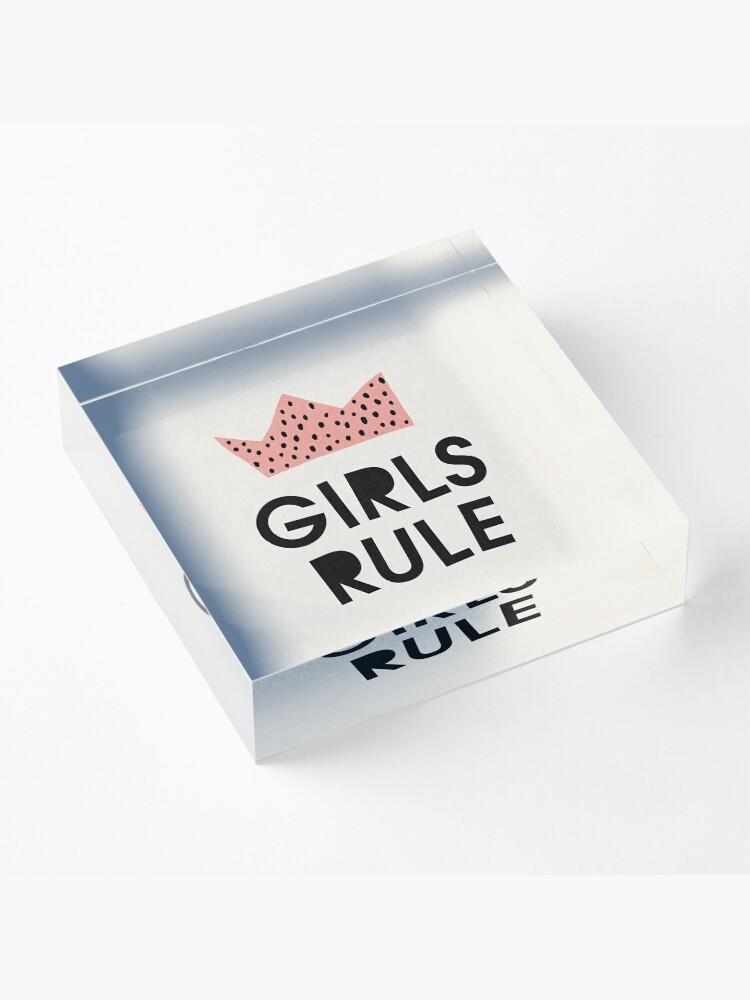 Alternate view of Girls rule, Abstract, Mid century modern kids wall art, Nursery room Acrylic Block
