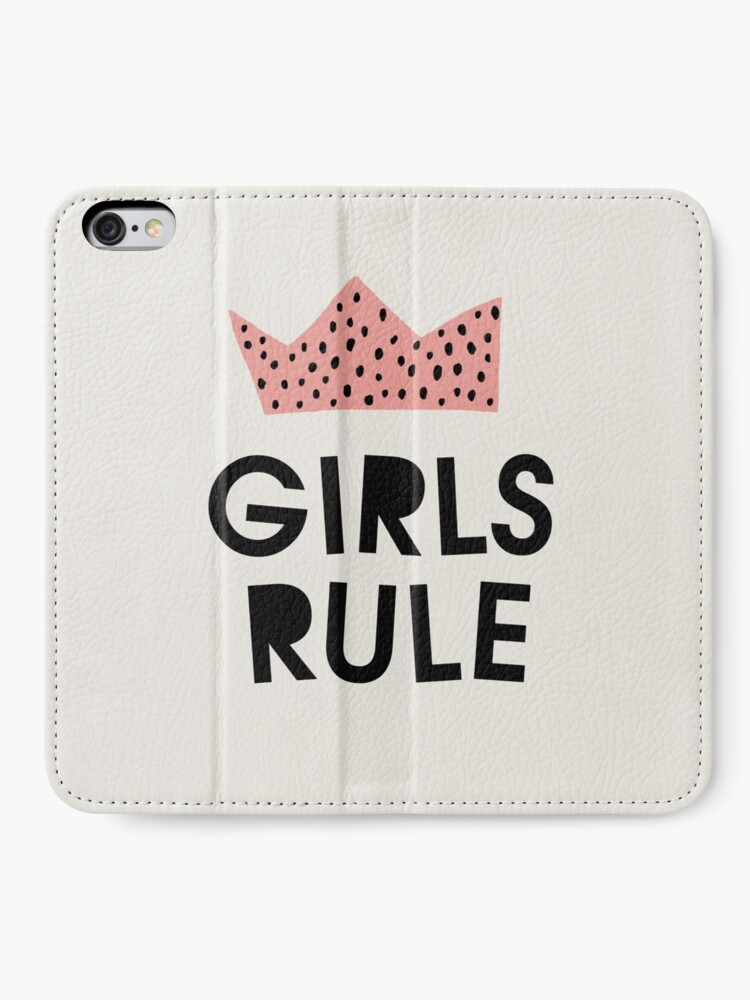 Alternate view of Girls rule, Abstract, Mid century modern kids wall art, Nursery room iPhone Wallet