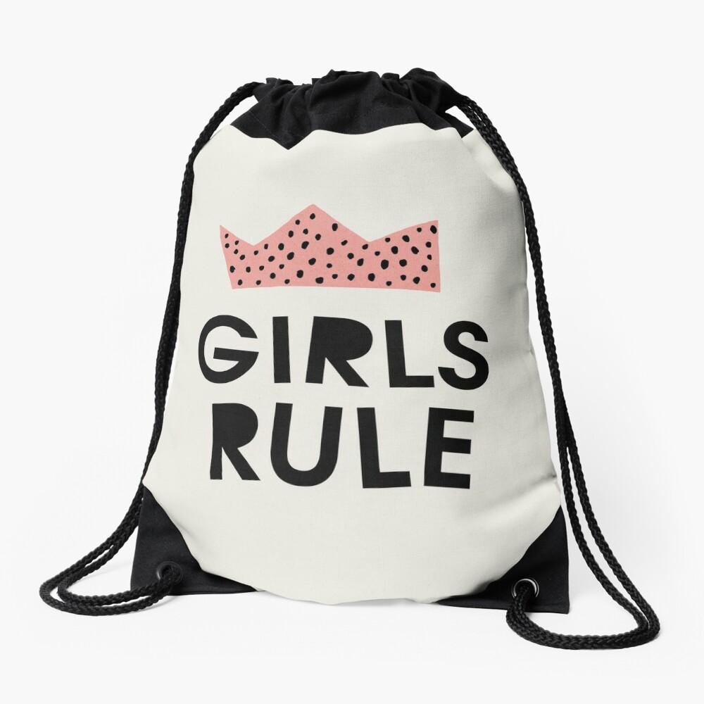 Girls rule, Abstract, Mid century modern kids wall art, Nursery room Drawstring Bag