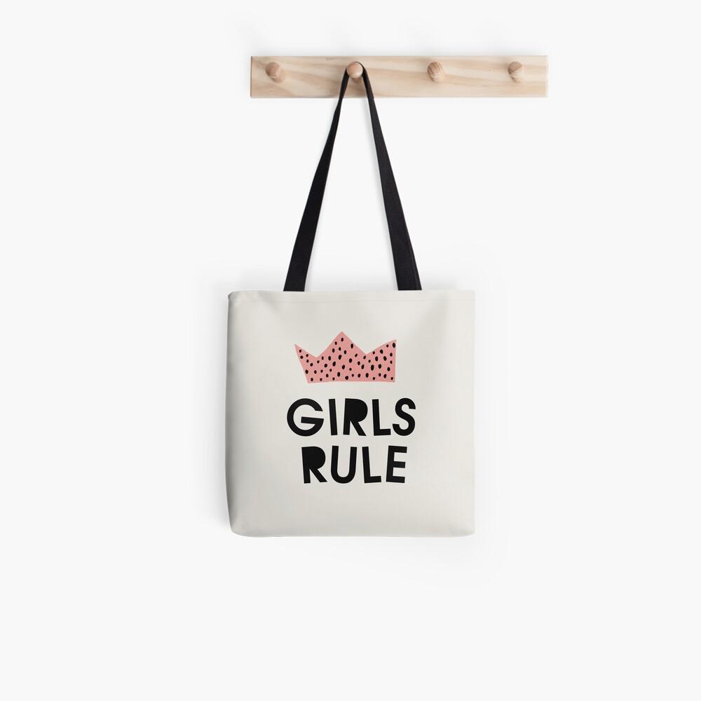 Girls rule, Abstract, Mid century modern kids wall art, Nursery room Tote Bag