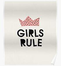 Girls rule, Abstract, Mid century modern kids wall art, Nursery room Poster
