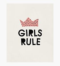 Girls rule, Abstract, Mid century modern kids wall art, Nursery room Photographic Print