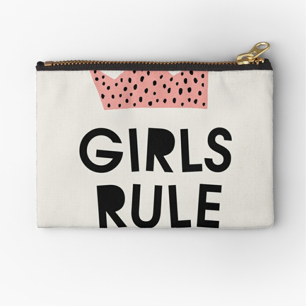 Girls rule, Abstract, Mid century modern kids wall art, Nursery room Zipper Pouch