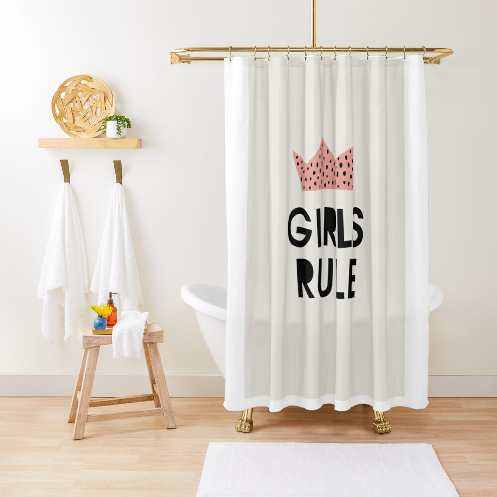 Girls rule, Abstract, Mid century modern kids wall art, Nursery room Shower Curtain