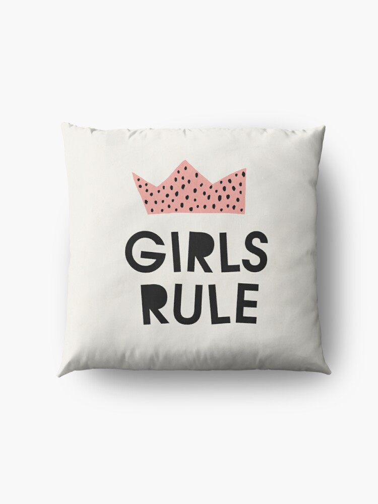 Alternate view of Girls rule, Abstract, Mid century modern kids wall art, Nursery room Floor Pillow