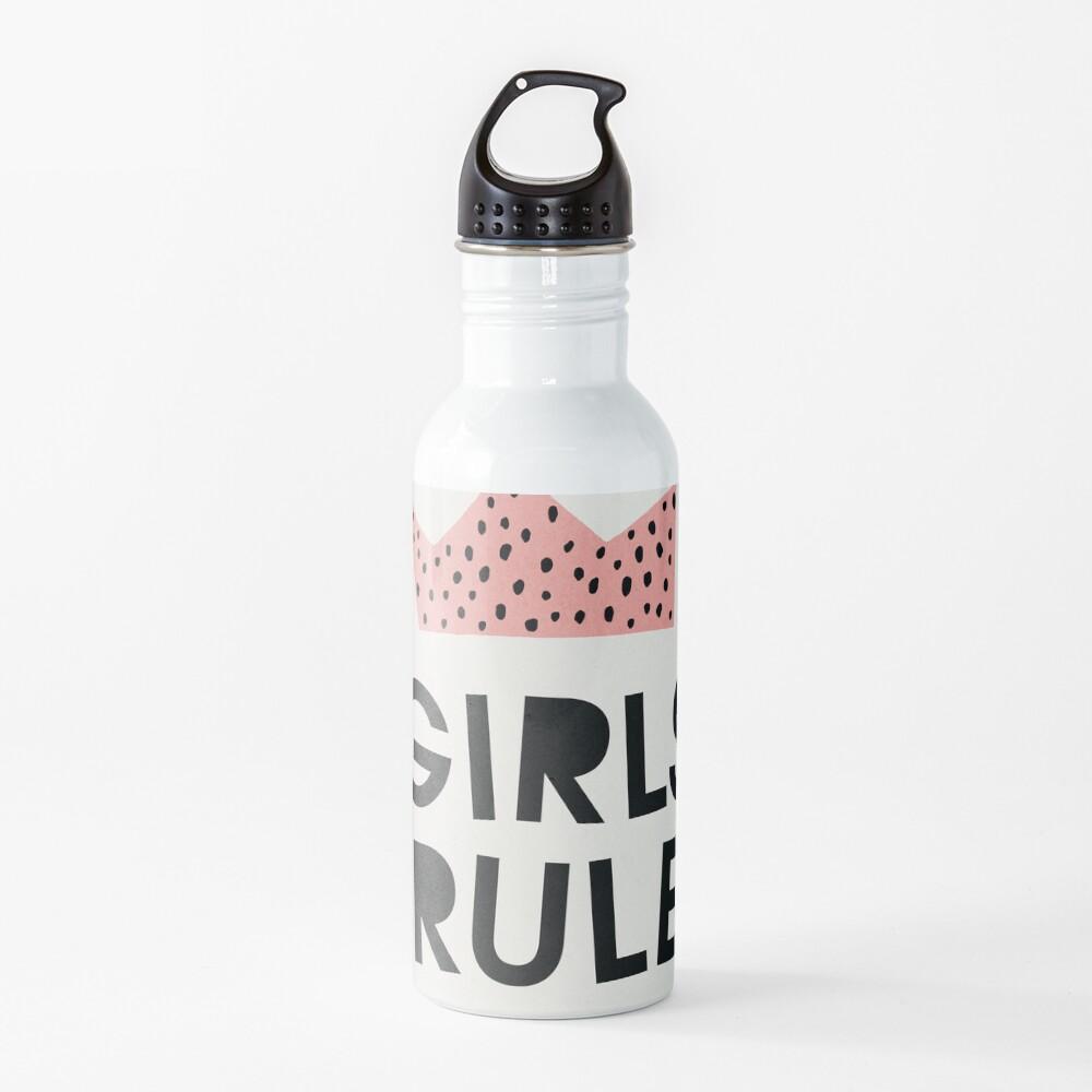 Girls rule, Abstract, Mid century modern kids wall art, Nursery room Water Bottle