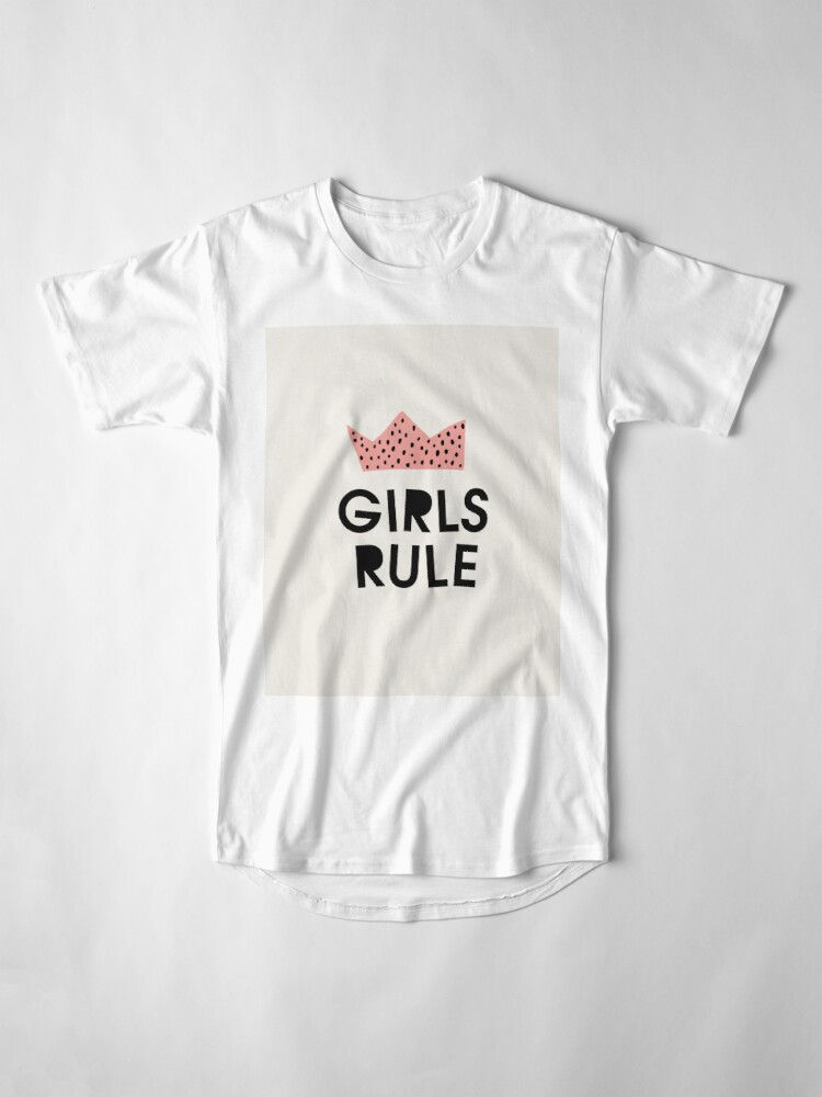 Alternate view of Girls rule, Abstract, Mid century modern kids wall art, Nursery room Long T-Shirt