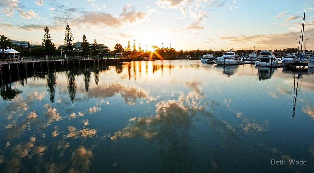 Raby Bay Reflections Qld Australia by Beth  Wode