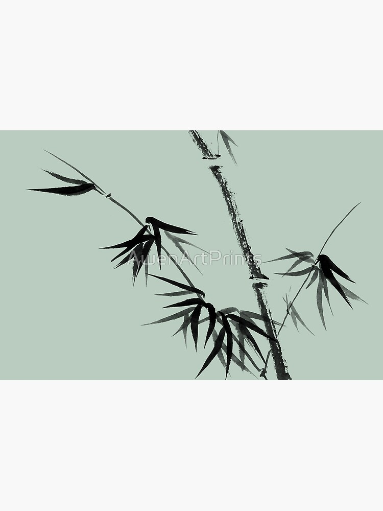 Bamboo stalk with young leaves minimalistic Sumi-e Japanese Zen painting artwork art print by AwenArtPrints
