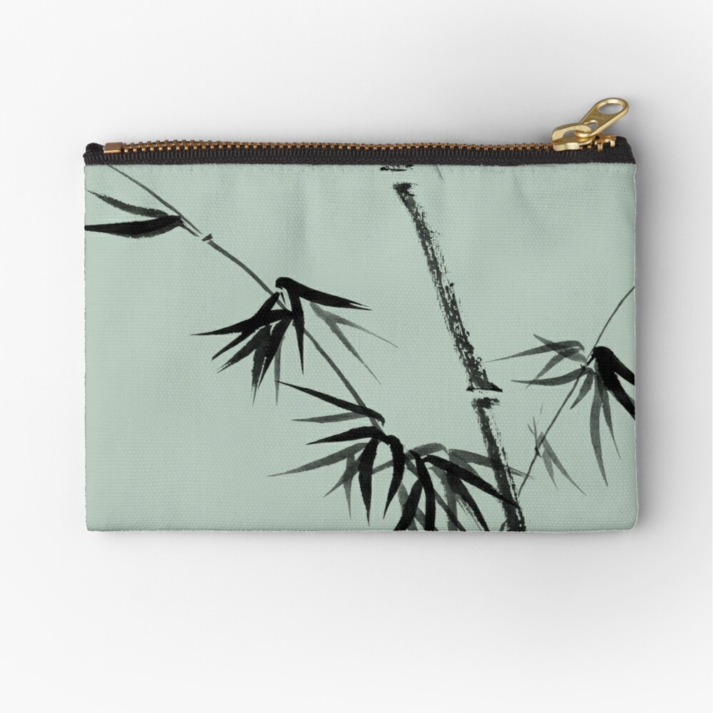 Bamboo stalk with young leaves minimalistic Sumi-e Japanese Zen painting artwork art print Zipper Pouch