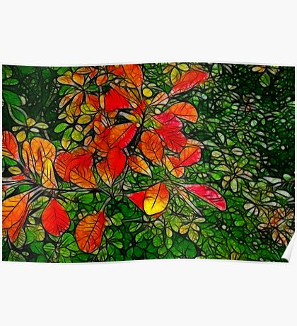 Autumn - Red Leaves Poster