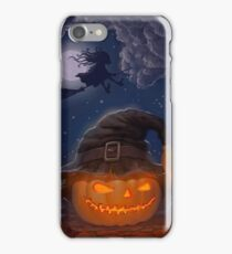Halloween ominously grinning pumpkin in a witch's hat iPhone Case/Skin