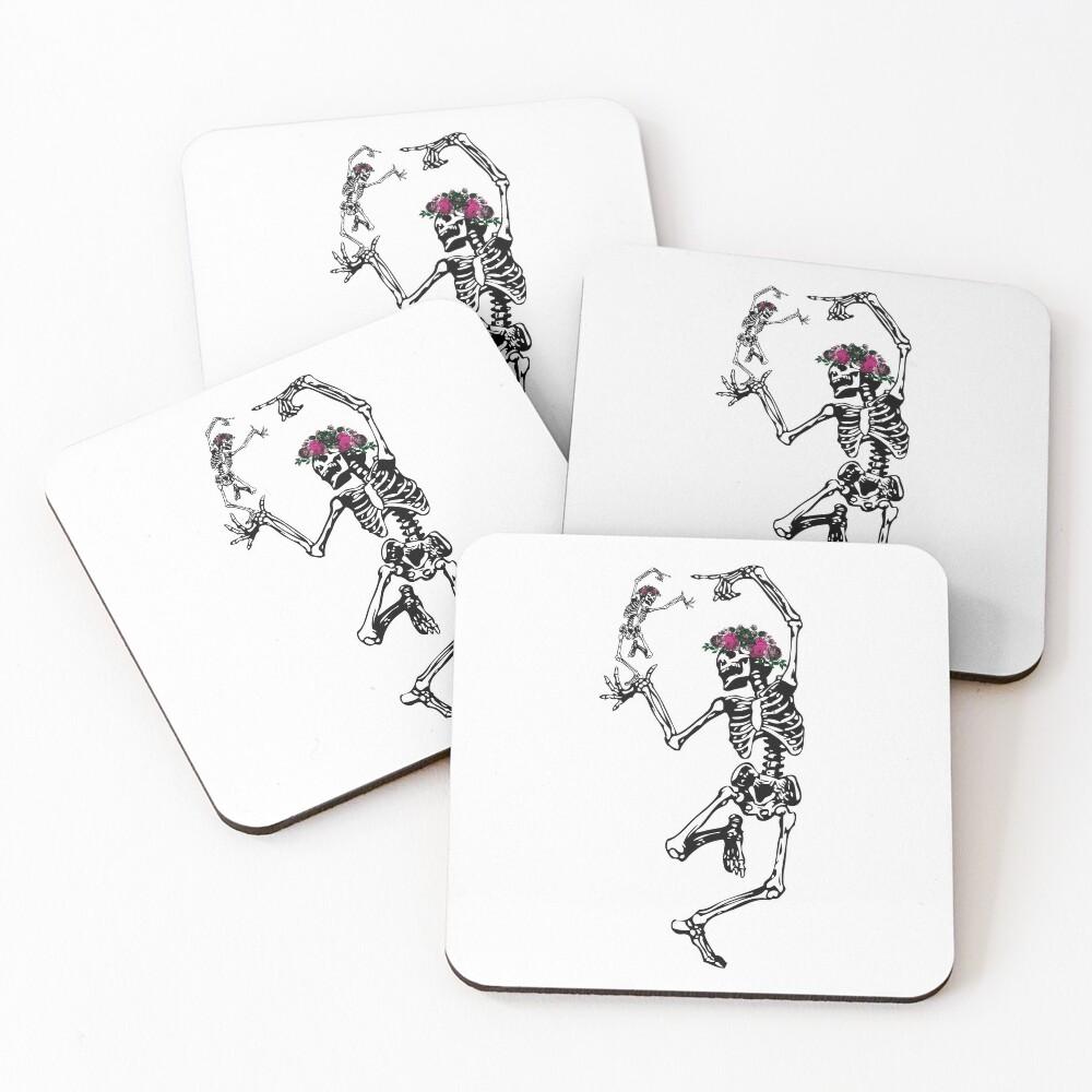 Two Dancing Skeletons   Day of the Dead   Dia de los Muertos   Skulls and Skeletons   Coasters (Set of 4)