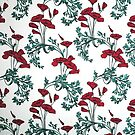 Red Poppies Vintage Victorian Wallpaper by Douglas E.  Welch