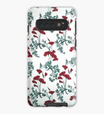 Red Poppies Vintage Victorian Wallpaper Case/Skin for Samsung Galaxy