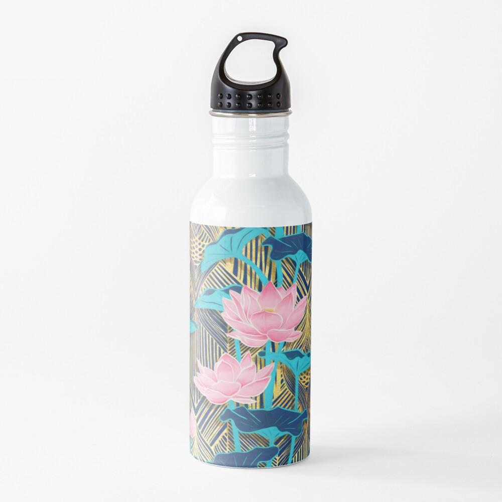 Art Deco Lotus Flowers in Pink & Navy Water Bottle
