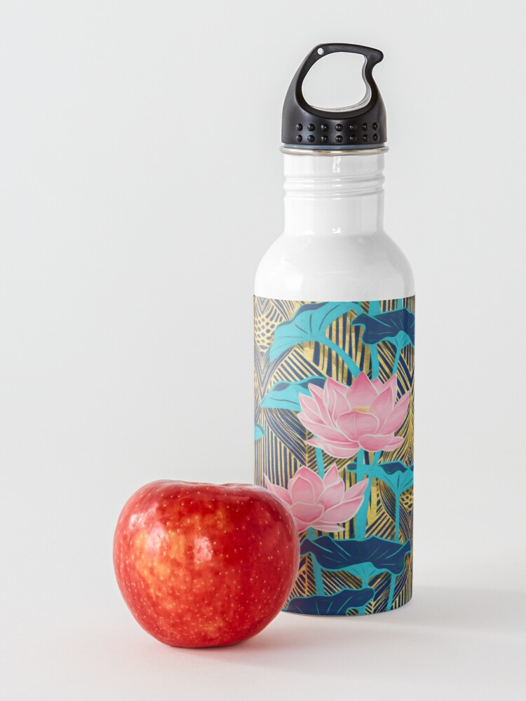 Alternate view of Art Deco Lotus Flowers in Pink & Navy Water Bottle