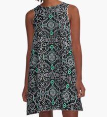 Grey Mint Black Bohemian Mandala Arabesque Pattern A-Line Dress
