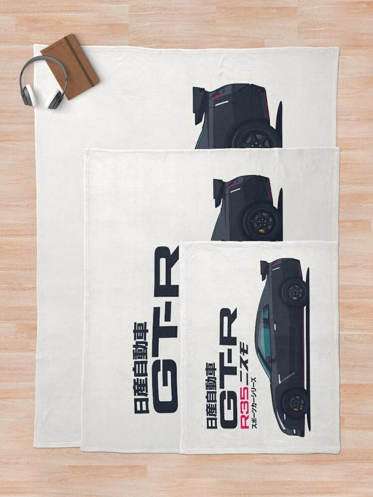 Alternate view of R35 GT-R Godzilla - Horz Black Throw Blanket