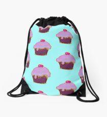 Yummy pink cupcake picture Drawstring Bag