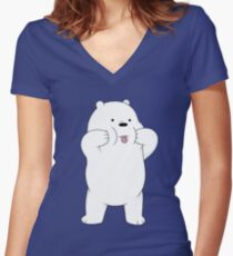 We Bare Bears - Ice Bear Fitted V-Neck T-Shirt