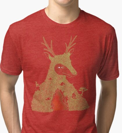 Stag at the Heart of the Mountain Tri-blend T-Shirt