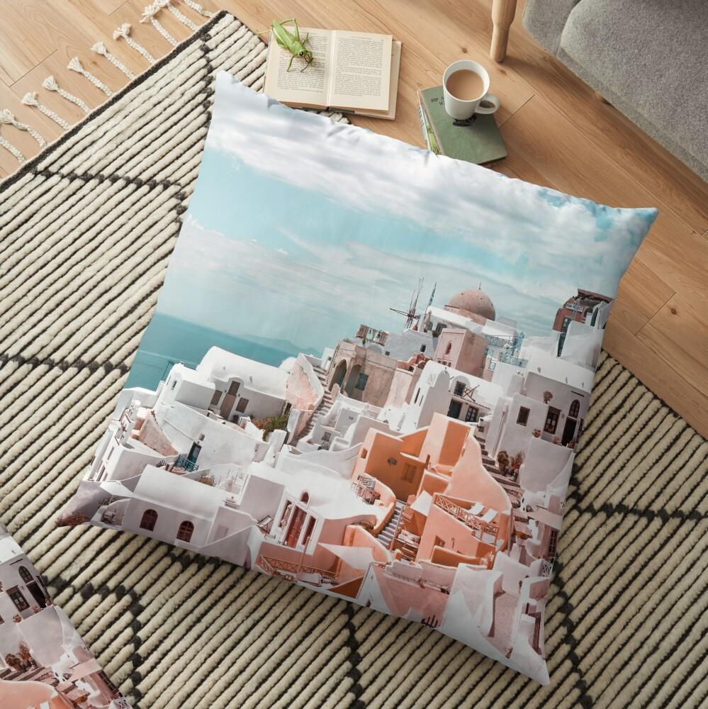 Santorini Oia Greece Floor Pillow