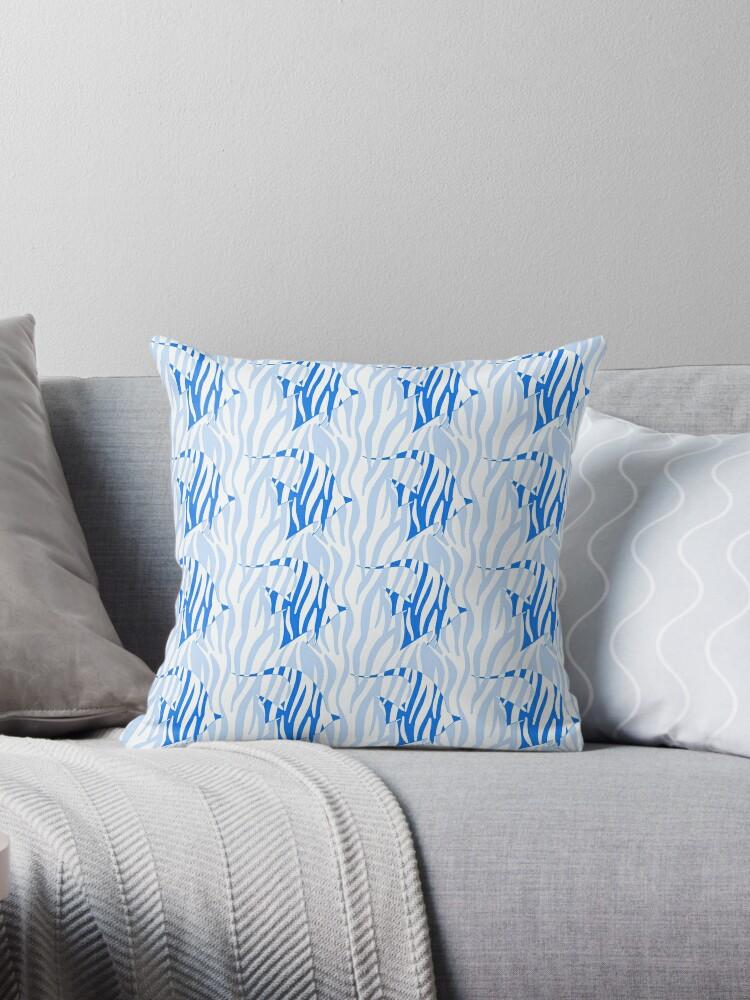 Light Blue Zebrafish In Dark Blue Seaweed Reeds Throw Pillow By Podartist Redbubble
