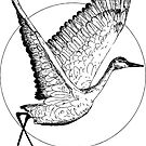 Black and White Flying Sandhill Crane Illustration / Crane Bird Drawing / Flying Crane by Laura Maxwell