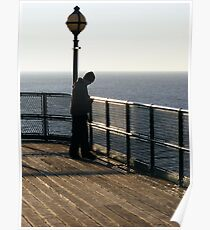 Alone with his thoughts. Clevedon Pier, Near Bristol, UK Poster