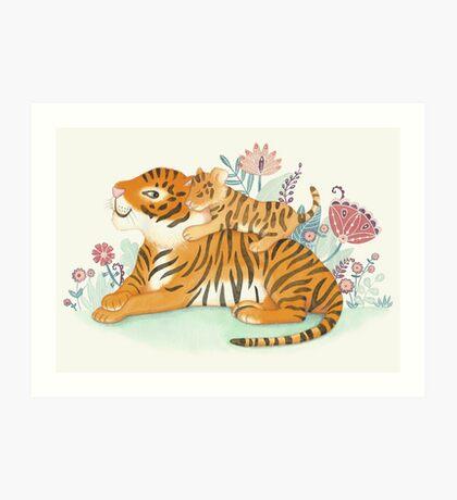 Tiger and little cub Art Print