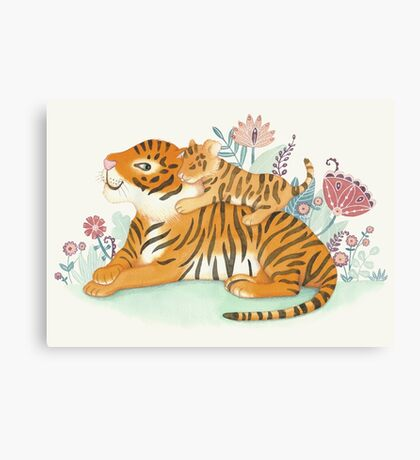 Tiger and little cub Canvas Print