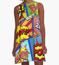 Colorful Comic Book Panels A-Line Dress