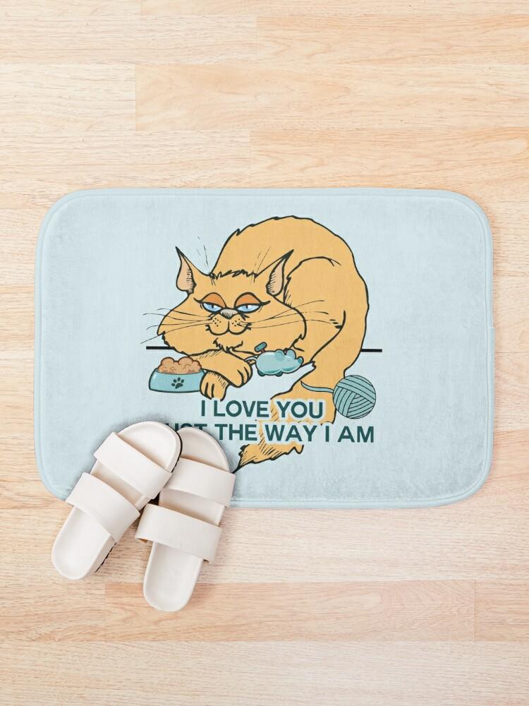 Alternative Ansicht von Lustiges Cartoon-Katzen-Sprichwort Badematte
