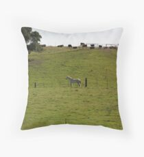 White Horse & Cows on Crest of the Hill Pasture Throw Pillow
