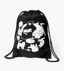 Death And His Cats Drawstring Bag