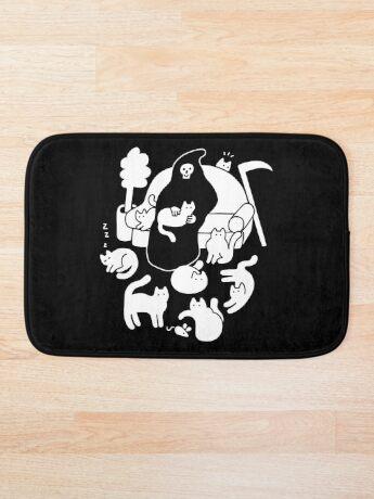 Death And His Cats Bath Mat