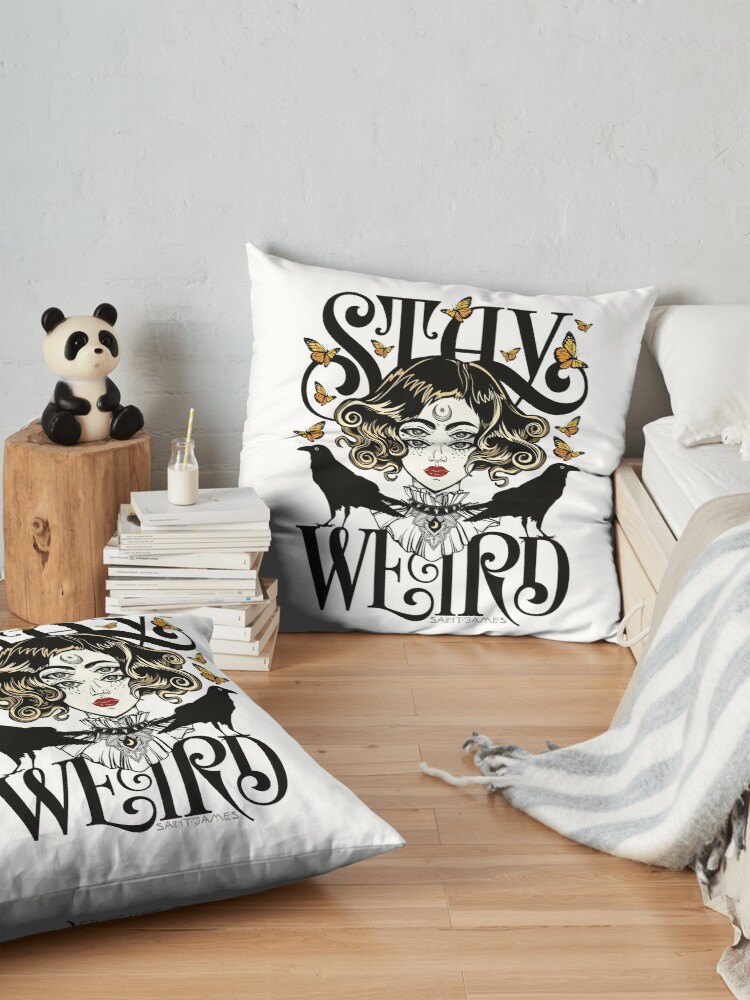 Alternate view of Rose and The Ravens {Stay Weird} Colour Version Floor Pillow