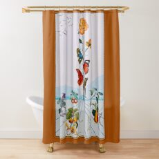 BUTTERFLY ROSE : Vintage Abstract Dali Painting Print Shower Curtain