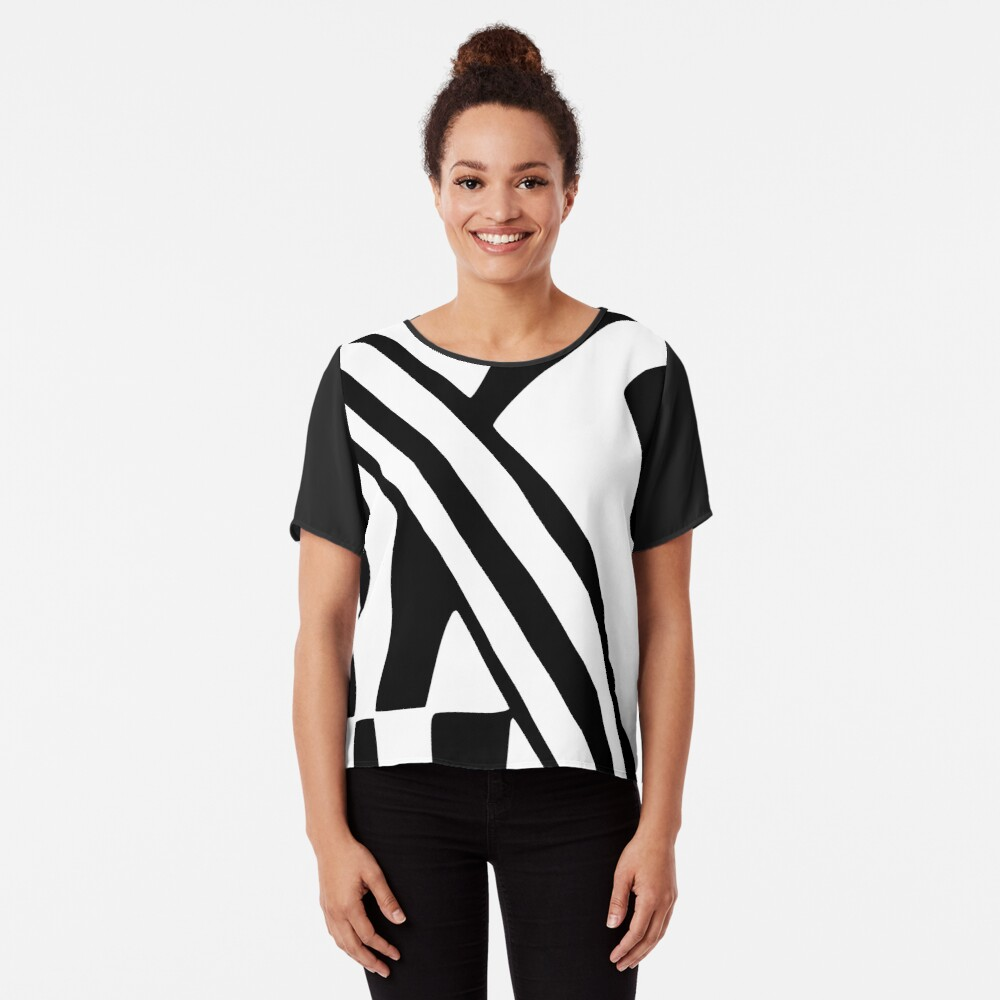 White and Black Dazzle Chiffon Top