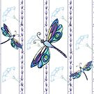 Plum Dragonfly Floral Pattern by EverIris